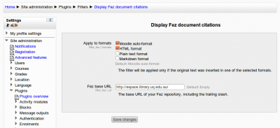 Fez text filter settings in Moodle